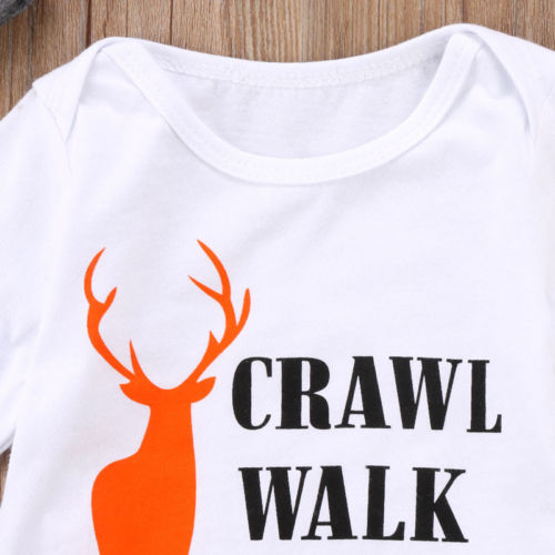New 3Pcs Newborn Baby Boys Girls Christmas Clothes CRAWL WALK HUNT Romper Deer Pants Hats Caps Xmas Elk Outfits Toddler Baby Set in Clothing Sets from Mother Kids