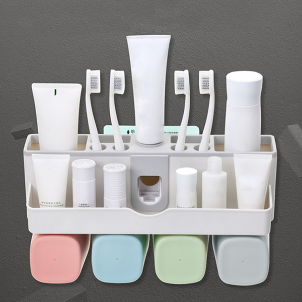 Large Capacity Toothbrush Holder Wall Mount Storage Rack with Automatic Toothpaste Dispenser MU image