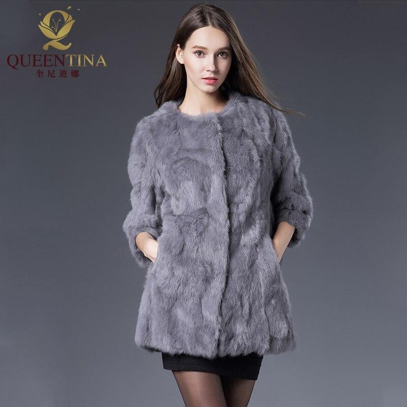 Heiße Frauen Echte Kaninchen Pelzmantel Jacken Echte Pelzmantel - Damenbekleidung - Foto 4