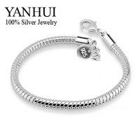 YANHUI 100 925 Sterling Silver Bracelets Bangles For Women S925 Stamped 3mm Snake Bone Bracelet Fashion
