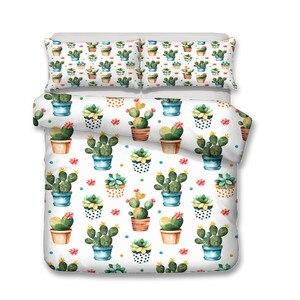 Image 2 - Комплект постельного белья с 3D принтом, пододеяльник, комплект постельного белья, домашний текстиль с изображением кактуса и растений для взрослых, постельное белье с наволочкой # XRZ06