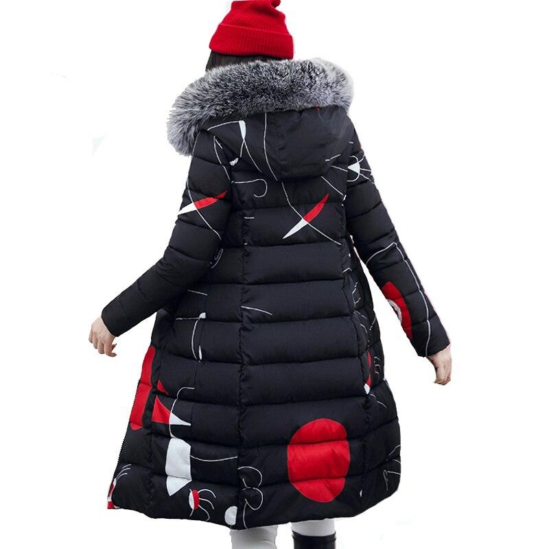 Con la piel con capucha mujer chaqueta de invierno de las mujeres Plus tamaño 3XL acolchada Parka larga Outwear para las mujeres Jaquata femenina inverno