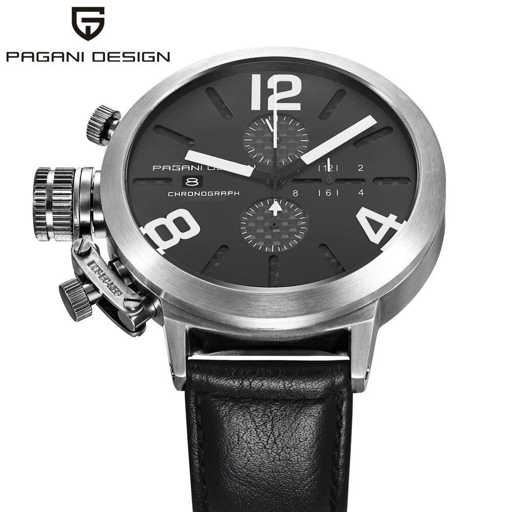 PAGANI DESIGN noir en cuir Sport hommes montres Quartz militaire automatique Date chronographe chronomètre montre d'affaires montres CX-2332