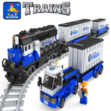 Model building kits compatible with lego Train Rollingstock 3D blocks Educational model building toys hobbies for children
