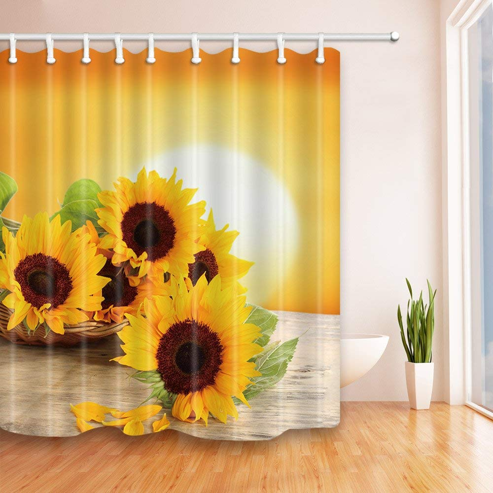 Sunflower With Green Leaves In The Sunset Polyester Fabric Shower Curtain Set Fantastic Decorations Bath Curtain
