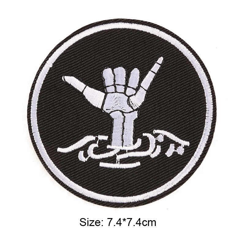 黒ダークアイアンでパッチバッジ縫うシーム仕立ての服スーツコートジャケットズボン Tシャツパンツ飾りアパレル