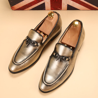 New Silver Gold Spike Men Loafers Shoes Luxury Brand Trendy Flat Footwear 2017 Studded Male Patent