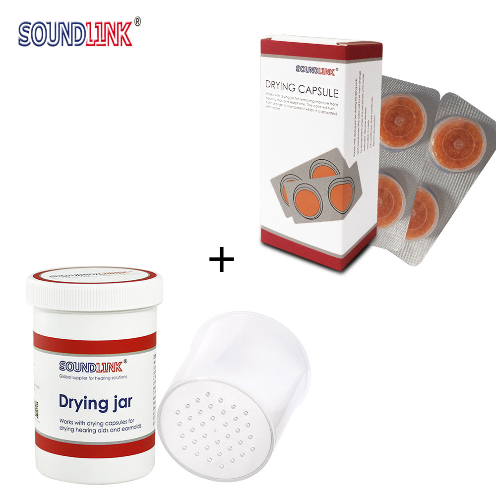 Hearing Aid Aids Drying Capsule Dehumidifier Dryer Dry Cup (Two Cards Desiccant + One Drying Jar)