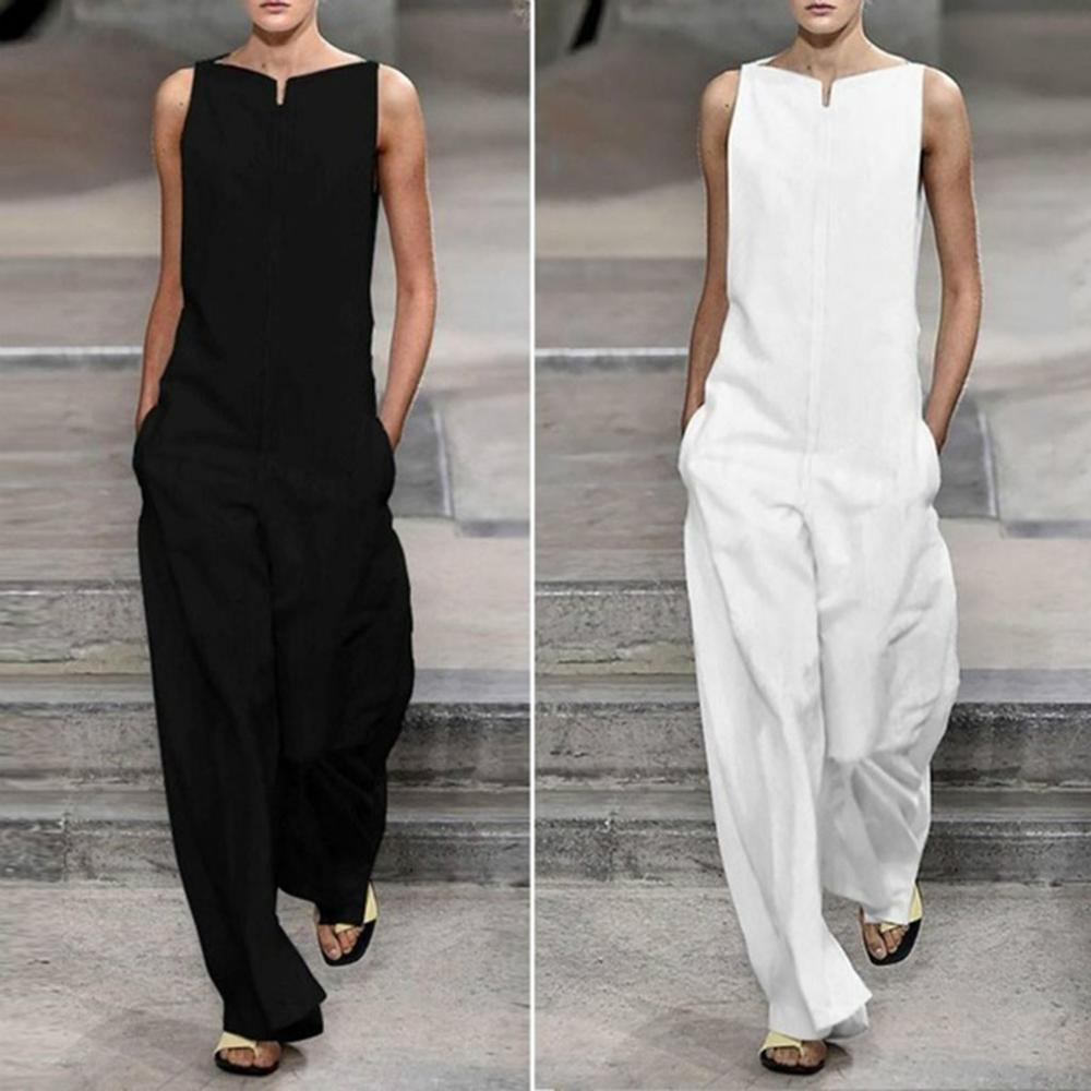 Elegant White Women   Jumpsuit   Summer 2019 New Black Cotton Line Casual   Jumpsuit   Female Sleeveless Loose Boho   Jumpsuit   For Women