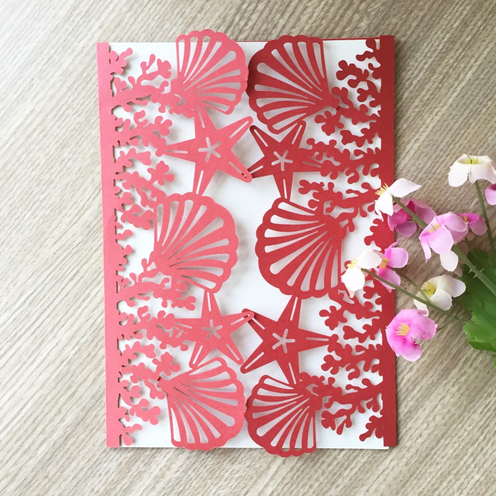 50pcs Laser cut Pearl Paper Card Postcards Beach theme Wedding ...