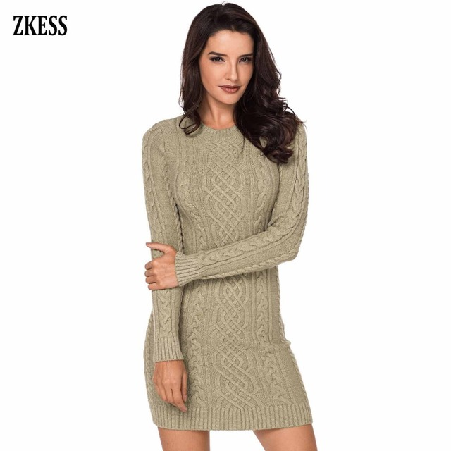 acef2c733c6 Zkess Women Fashion Knitted Slouchy Cable Sweater Dress Winter Casual Long  Sleeve O-Neck Club Party Fitted Mini Dress LC27865