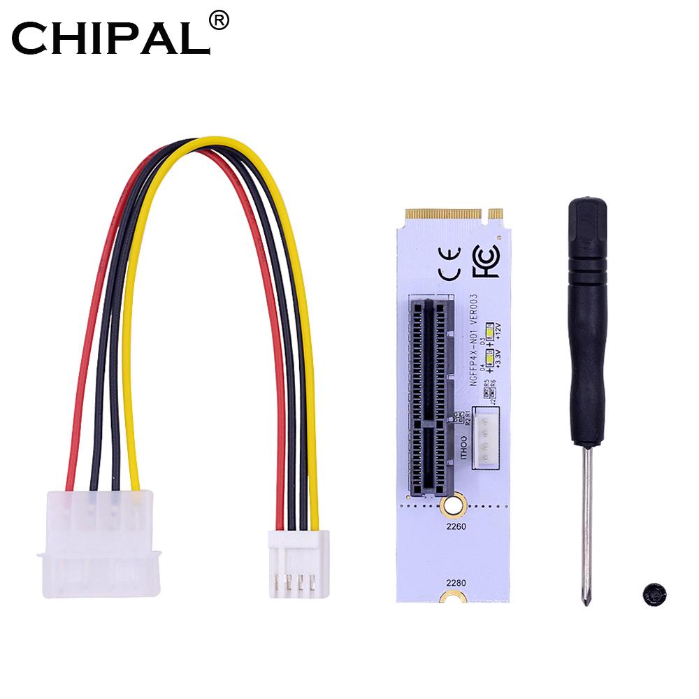 CHIPAL NGFF M.2 to PCI E 4X Riser Card M2 Key M to PCIe X4 Adapter with LED Voltage indicator for ETH Bitcoin Miner Mining-in Computer Cables & Connectors from Computer & Office
