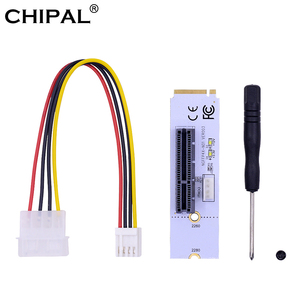 Image 1 - CHIPAL carte Riser NGFF M.2 vers PCIe 4X, adaptateur avec clé M2 M vers PCIe X4, avec indicateur de tension de LED, pour ETH Bitcoin mines