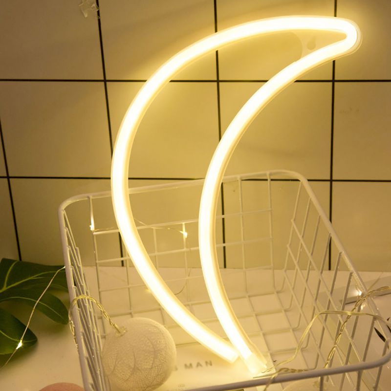 Hot USB Charging Neon Moon Lamp Holiday Light LED Night Light For Home Festival Wedding Party Decor