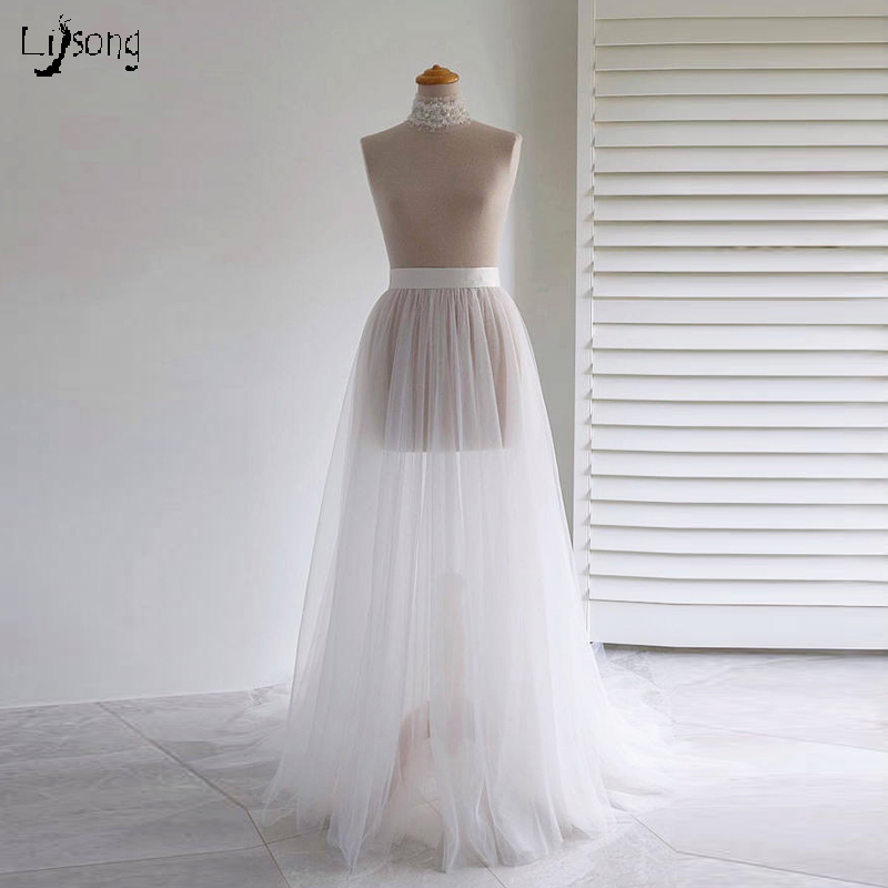 Bridal White Tulle Mesh No Lining Skirt With Little Train Match Wedding Or Formal Party Dress Detachable Floor Length Skirts