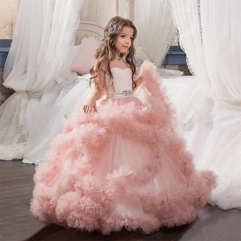 Pink Puffy Tulle Ball Gowns Girl Pageant Dress Kids Pretty