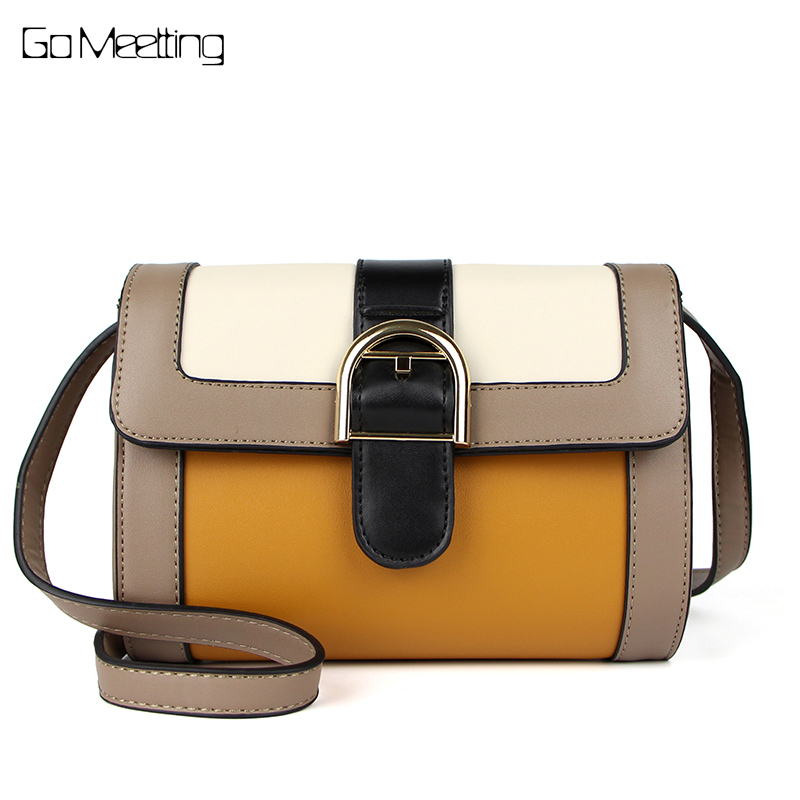 Go Meetting PU Leather Women Crossbody Bag Panelled Leather Small Messenger Bags Vintage High Quality Flap Single Shoulder Bag