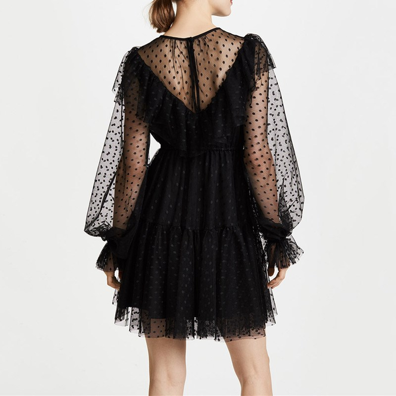 Sexy Long Sleeve Black Mesh Lace Mini Dress Casual Polka Dot Ruffled Dress Sexy Long Lantern Sleeve Mesh Sheer Party Club Dress in Dresses from Women 39 s Clothing