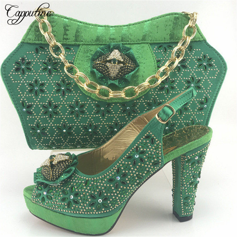 Capputine Hot Selling Shoes And Bag Set Italian Shoes With Matching Bags African Shoes And Matching Bag Wedding Shoes ME7713 g36 wholesale gold wedding shoes and bag set hot selling latest african wedding lady shoes matching bag with stones