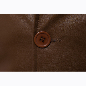Image 4 - Size M 5XL men business casual leather pocket decoration new autumn and winter suits turn down coat collar Leather jacket cloth