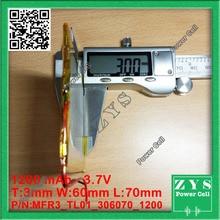3.7 V 1200 mAh LiPo Batería Recargable de Polímero de Litio de energía de células Para PAD GPS PSP Del Juego Del Vedio Banco de Potencia Tablet PC E-libro 306070