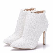 Spring Autumn White Bridal Flowers Party Wedding High Heels Ankle Boots Women Plus Size Shoes Pointed Toe Booties 2019 XY-A0162