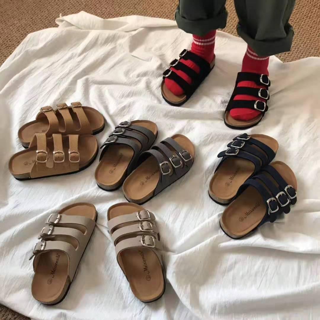 2019 New Casual Boys Kids Slippers Summer Beach Children Cork Sandals Family Shoes Toddler Barefoot Flats Girls Slipper