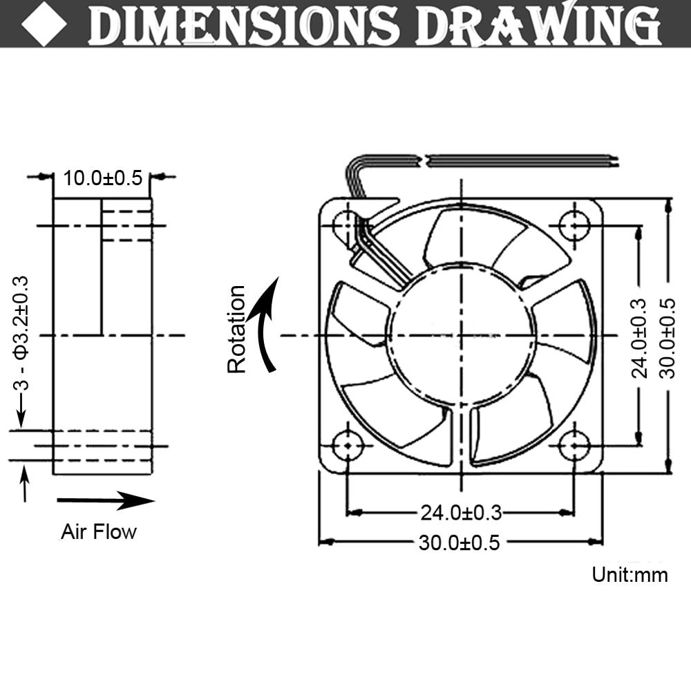 2 шт. Gdstime двойной шариковый подшипник постоянного тока 24 В 12 В 5 в 3 см 30 мм 30x30x10 мм 3010 Бесщеточный Мини кулер охлаждающий вентилятор