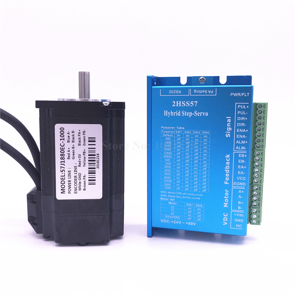 57J1880EC-1000+2HSS57 Closed-loop step combined packages 2.0N.m Nema 23 Hybird closed loop 2-phase stepper motor driver57J1880EC-1000+2HSS57 Closed-loop step combined packages 2.0N.m Nema 23 Hybird closed loop 2-phase stepper motor driver