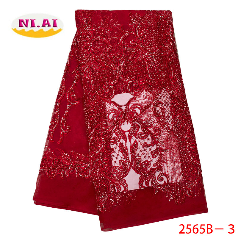High Quality 2019 African French Net Lace Fabric Embroidered Nigerian Lace Fabric Handmade Lace With Beads For Dress XY2565B-3High Quality 2019 African French Net Lace Fabric Embroidered Nigerian Lace Fabric Handmade Lace With Beads For Dress XY2565B-3
