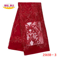 High Quality 2019 African French Net Lace Fabric Embroidered Nigerian Lace Fabric Handmade Lace With Beads For Dress XY2565B 3