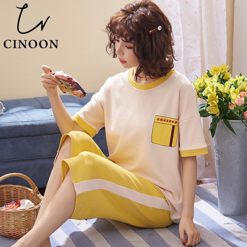 CINOON Cotton   Pajamas     Sets   For Women Short-sleeved T-shirt + Shorts Casual Homewear Fashion Sleepwear Yellow   Pajama