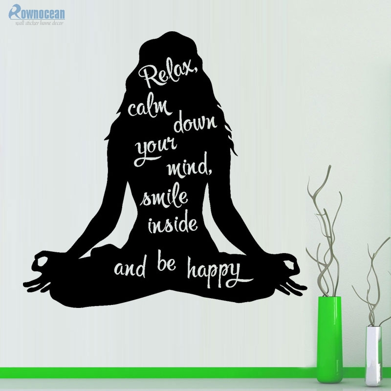 Women Yoga Wall Decal Inspirational Quote Meditation Vinyl Wall Sticker Art Home Decor Living Room Gym Removable Mural F-15
