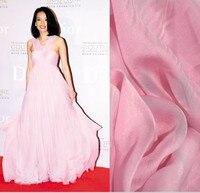 משי טהור סיטונאי איכות חומר שיפון משי דק שמלת שמלה אלגנטית 73 שמלת מקשה אחת לבוש הרשמי בד לשמלה