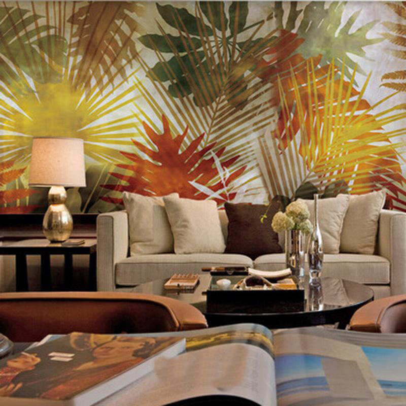 Bacaz 5D Papel Mural Wallpaper Palm trees Lobus Leaf 3d Print Large Wall Mural Wall paper for yoga Museum cafe 3D Phtoto Murals flame trees of thika