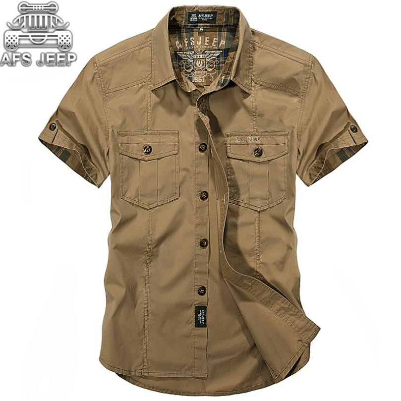 AFS JEEP Cargo Army Military Casual Men Shirts Loose Plus Size 100% Cotton Natural Cool Summer Camisa Masculina