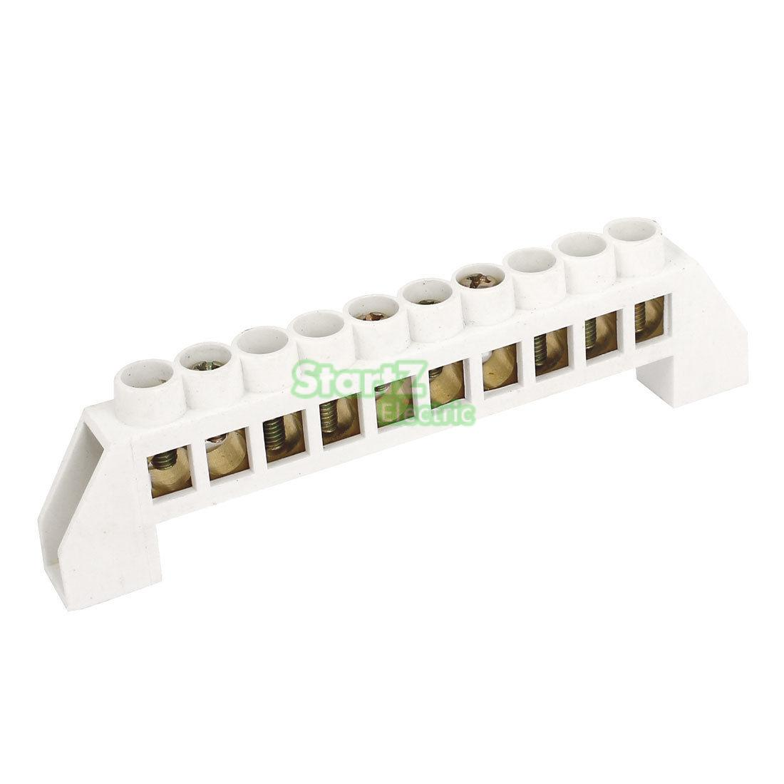 2PCS White Bridge Design Zero Line 10 Position Copper Grounding Strip Terminal Block Connector
