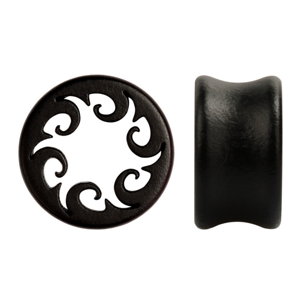 10-25mm Gauges Ear Plugs and Tunnels Black Wood Hollow Ear Expansion Earmuffs Body Jewelry Piercing