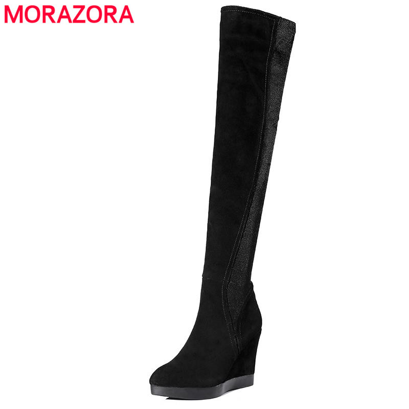 MORAZORA Newest cow suede pointed toe over the knee boots wedges autumn boots warm elegant women shoes top quality
