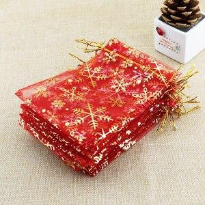 Image 4 - ジュエリー包装袋アクセサリービーズポーチクリスマスキャンディーバッグ巾着オーガンザギフトバッグ雪フレークバッグ 1000 ピース/ロット