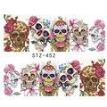 1 Folha de Projetos Do Crânio de Halloween Decorações Da Arte Do Prego Do Decalque Da Tampa Completa Flores Unhas De Transferência De Água Adesivos Deslizante STZ449-452