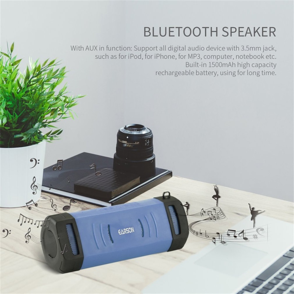 2017 EARSON Portable Wireless Bluetooth Speaker Super Bass Stereo Speaker Bluetooth 2.1 + EDR Waterproof Support TF Card Input