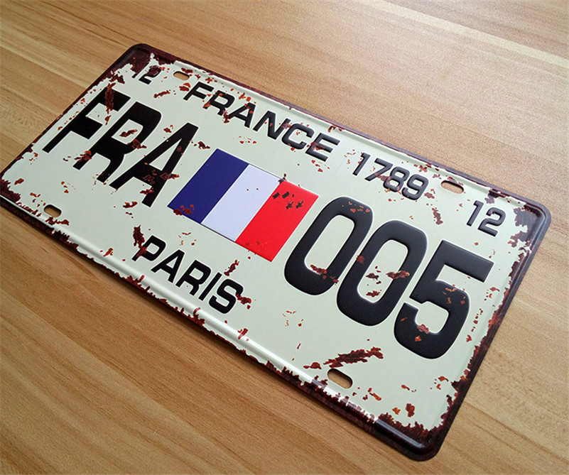 SP-CP-0234 License Plates Car number ABOUT  FRA-005  Retro Vintage Metal tin signs Wall art craft painting 15x30cm