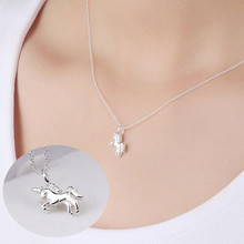 925 Silver Cute Animal Classic Jewelry Pony Horse Claw Temperament Simple Female Pendant Necklace    H131