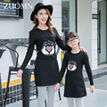 2016 New Fashion Mother Daughter Dresses Family Look Matching Outfits Mom And Daughter Baby Girls Dress Kids Black Clothing G243