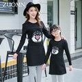 2016 Nueva Moda Vestidos de Madre E Hija Madre E Hija Familia Mirada Trajes A Juego Del Bebé Vestido de Las Muchachas Niños Ropa Negro G243