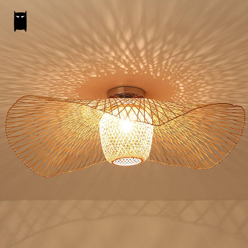 Bamboo wicker rattan shade cap ceiling light fixture for Plafonnier rotin