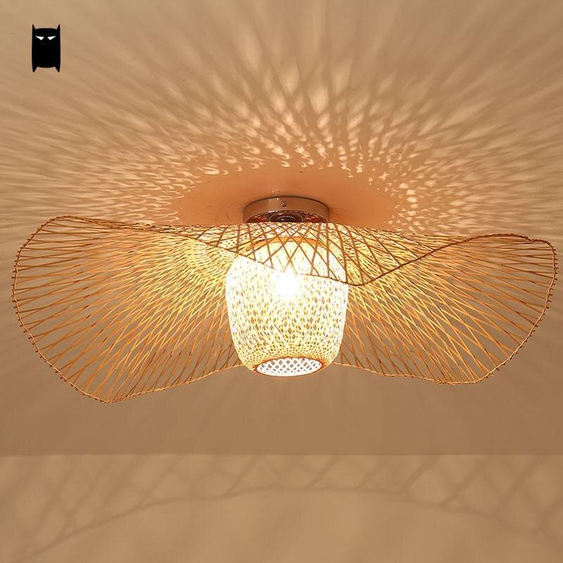 Us 2180 Bambus Wicker Rattan Schatten Kappe Deckenleuchte Kreative Rustikale Asiatischen Nordic Land Hängenden Lampe Lustre Design Für