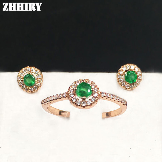 e4551c00e5c10 ZHHIRY Natural Emerald Jewelry Set Genuine Gem Sets Solid 925 Sterling  Silver Precious Stone Gold Plated