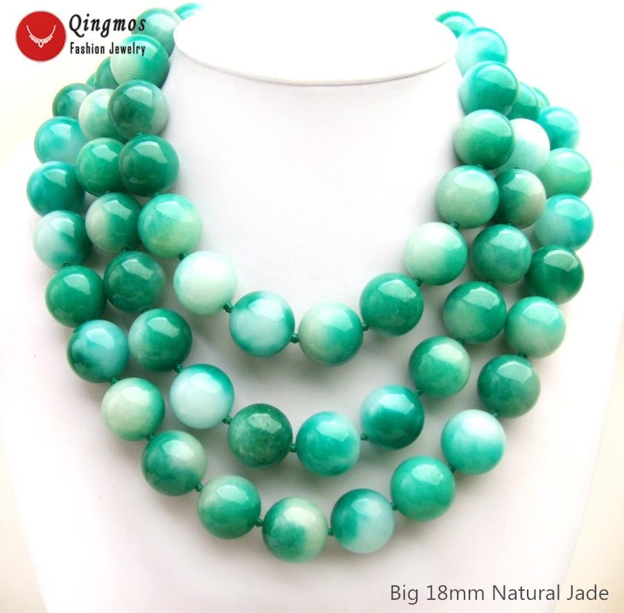 Qingmos naturel Jades collier pour les femmes avec 3 brins 18mm rond vert et blanc Jades Chokers collier bijoux 18-23 nec6505Qingmos naturel Jades collier pour les femmes avec 3 brins 18mm rond vert et blanc Jades Chokers collier bijoux 18-23 nec6505